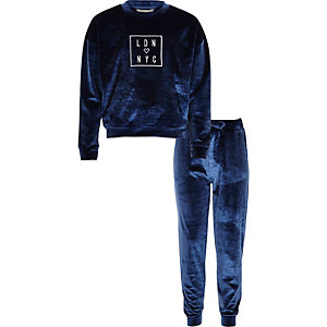 Girls blue velvet sweatshirt joggers set