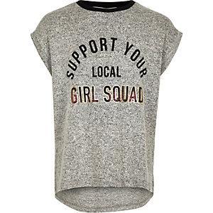 T-shirt gris imprimé Girl Squad pour fille