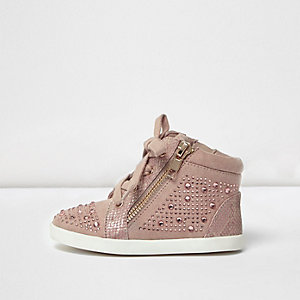 Mini girls pink diamanté hi tops