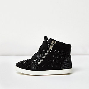 Mini girls black diamanté hi tops