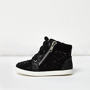 Baskets montantes noires à strass pour mini fille