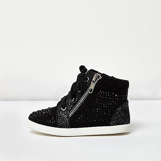 Mini girls black diamanté hi tops