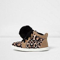 Mini girls leopard print pom pom trainers