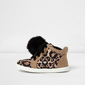 Mini girls leopard print pom pom trainers