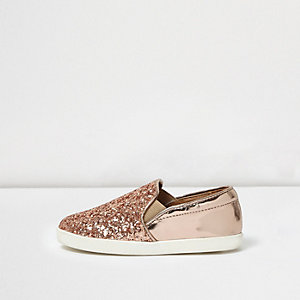 Mini girls rose gold glitter plimsolls