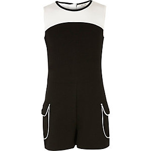 Girls black and white block playsuit