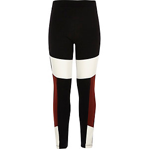 Girls black block high rise leggings