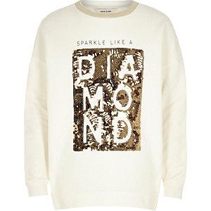 Weißes Sweatshirt mit Pailettenwort