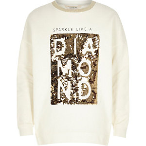 Girls white sequin word sweatshirt