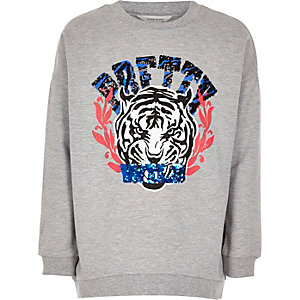 Girls grey tiger print sweatshirt