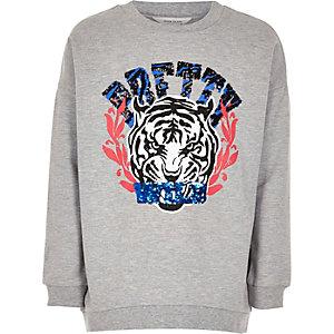 Girls grey tiger print sweatshirt