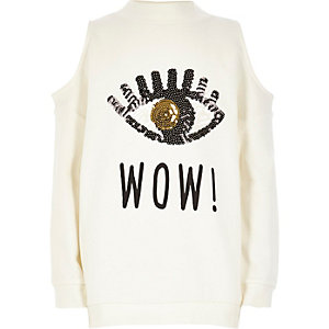 Girls white sequin cold shoulder sweatshirt