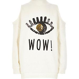Girls white sequin cold shoulder sweatshirt