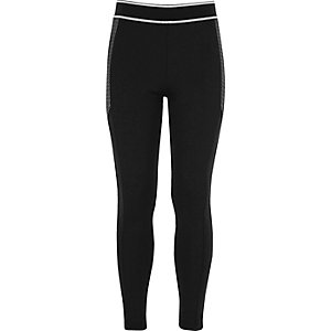 Girls black panel sports leggings
