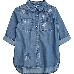 Mini girls blue embellished star denim shirt