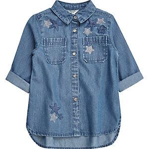Mini girls blue embellished star denim shirt
