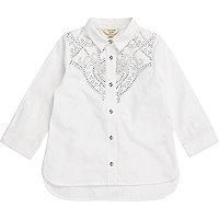 Weißes Popelin-Westernhemd mit Ziernieten