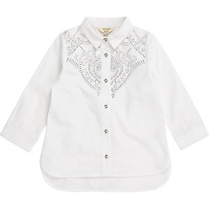 Mini girls white poplin stud western shirt