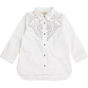 Mini girls white poplin stud western shirt