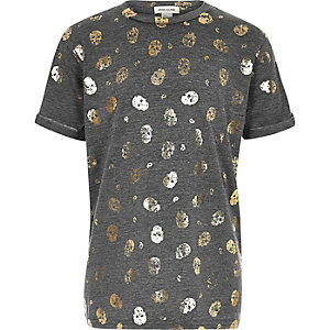 Girls grey metallic skull print T-shirt