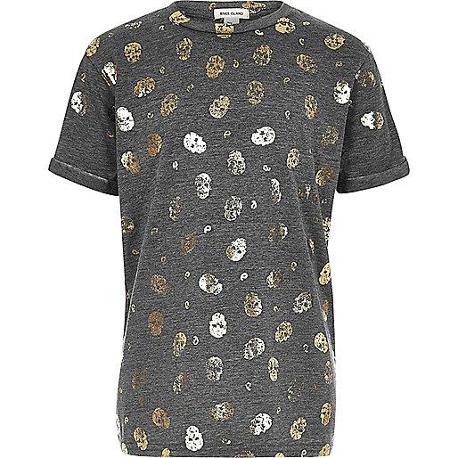 Girls grey metallic skull print T-shirt