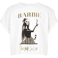 T-shirt court imprimé Barbie blanc pour fille