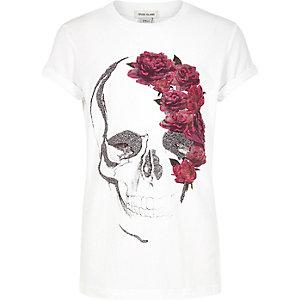 Weißes T-Shirt mit Totenkopf- und Blumenmotiv