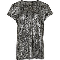 Girls black metallic T-shirt