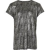 T-shirt métallisé sur fond noir pour fille