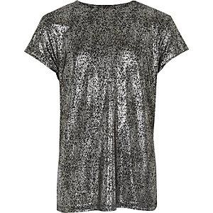 T-shirt noir métallisé pour fille