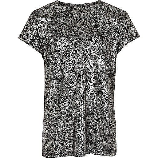 Girls black foil T-shirt