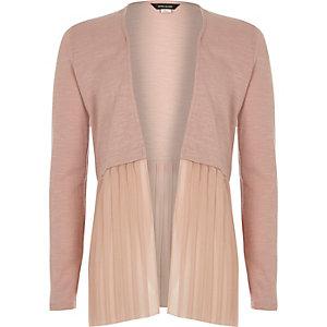 Cardigan rose clair plissé pour fille