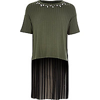 Girl khaki green contrast pleated T-shirt