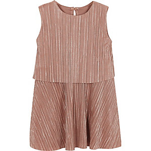 Mini girls metallic pink pleated dress