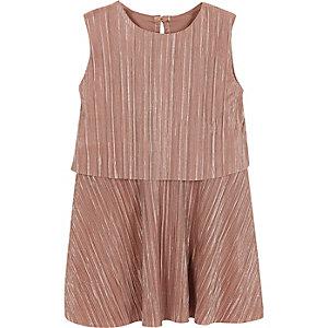 Mini girls metallic pink pleated dress