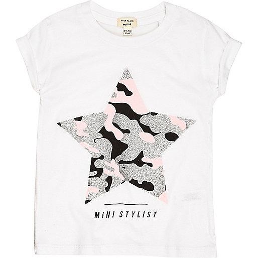 Mini girls white metallic star T-shirt