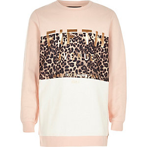 Girls pink metallic print sweatshirt