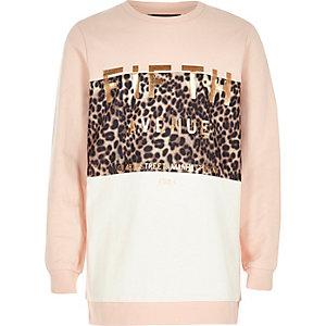 Gilrs pink metallic print sweatshirt