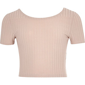 Girls blush pink ribbed crop top