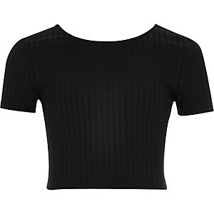 Girls black ribbed crop top