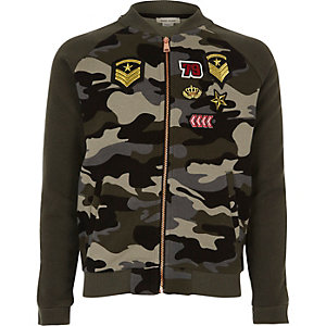 Girls khaki camo badge bomber jacket