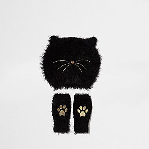 Mini girls black fluffy cat beanie set