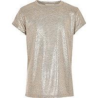 T-Shirt mit Metallic-Print in Roségold