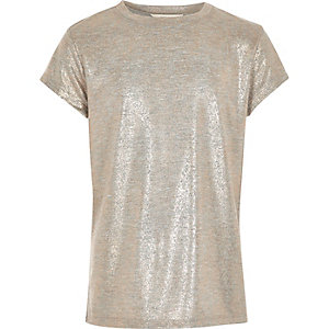 Girls rose gold metallic print T-shirt