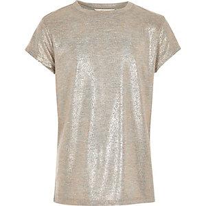 T-shirt imprimé métallisé or rose fille