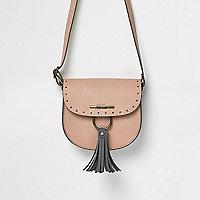 Girls pink tassel stud saddle bag