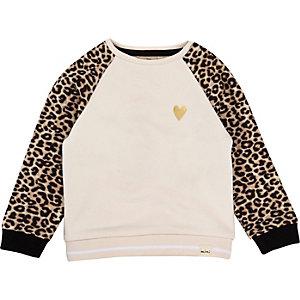 Pull rose à manches léopard pour mini fille