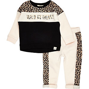 Mini girls leopard print block sweat set