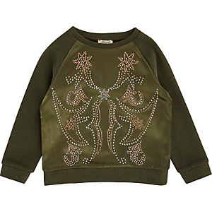 Mini girls khaki green satin stud sweatshirt