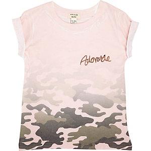 T-shirt imprimé camouflage délavé rose pour mini fille